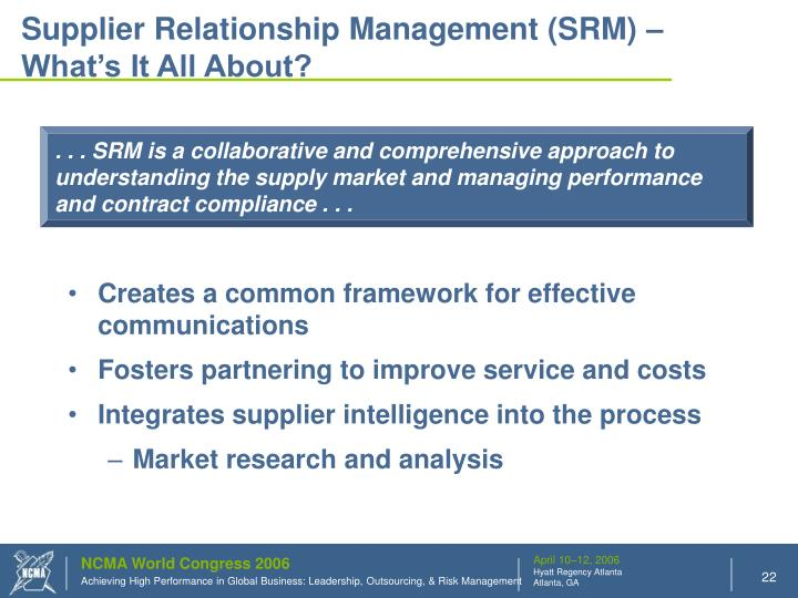 Supplier Relationship Management (SRM) – What's It All About?