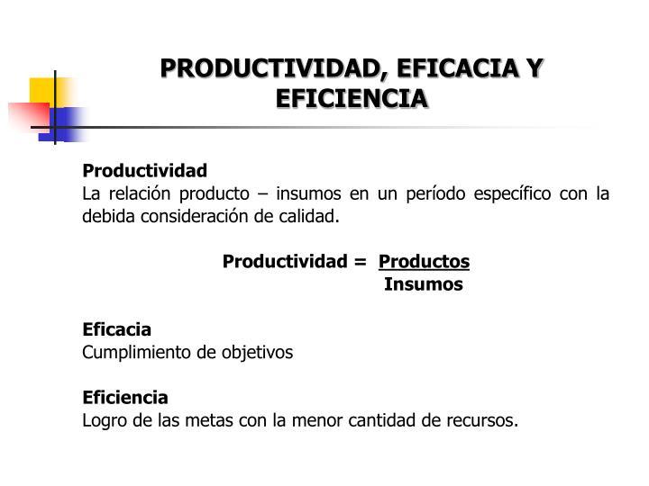 PRODUCTIVIDAD, EFICACIA Y EFICIENCIA