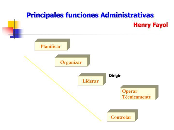 Principales funciones Administrativas