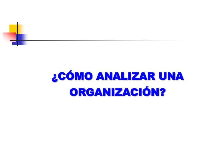 ¿CÓMO ANALIZAR UNA ORGANIZACIÓN?