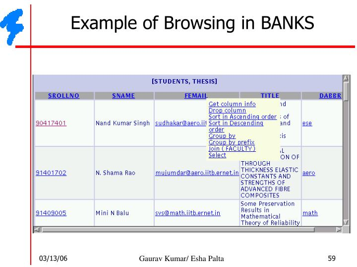 Example of Browsing in BANKS