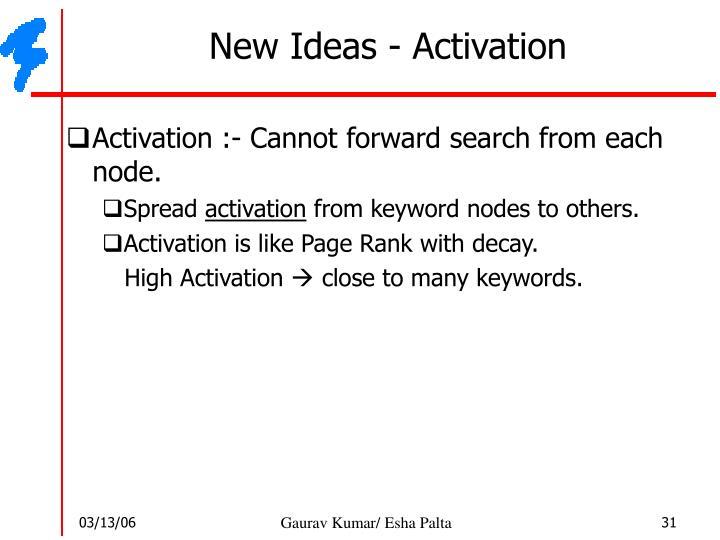 New Ideas - Activation