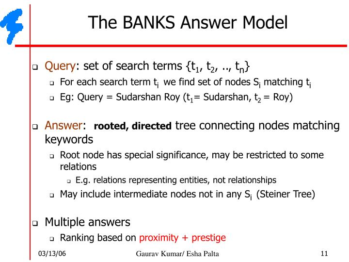 The BANKS Answer Model