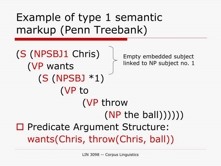 Example of type 1 semantic markup (Penn Treebank)