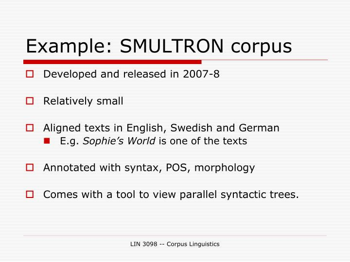Example: SMULTRON corpus