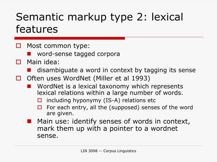 Semantic markup type 2: lexical features
