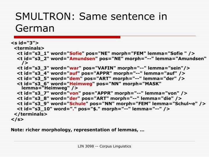 SMULTRON: Same sentence in German