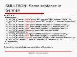 smultron same sentence in german