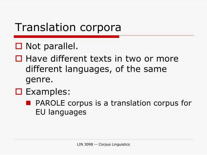 Translation corpora