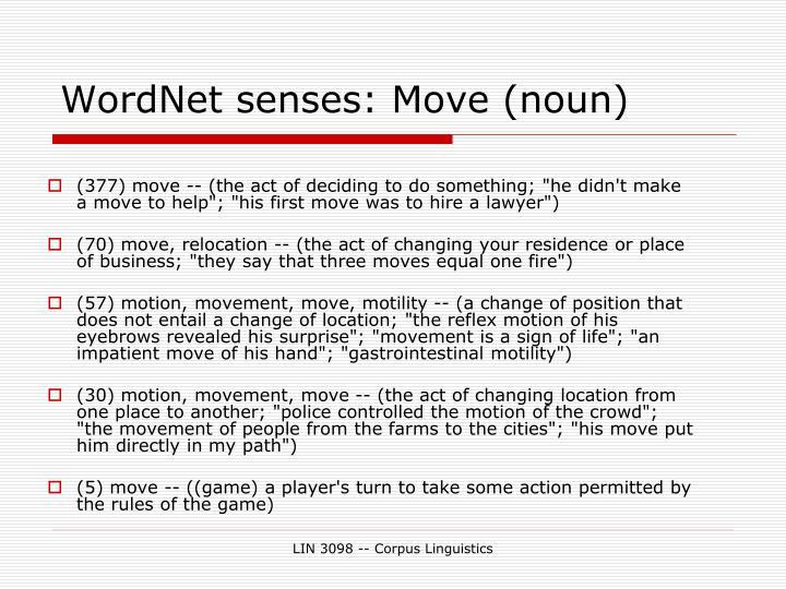 WordNet senses: Move (noun)