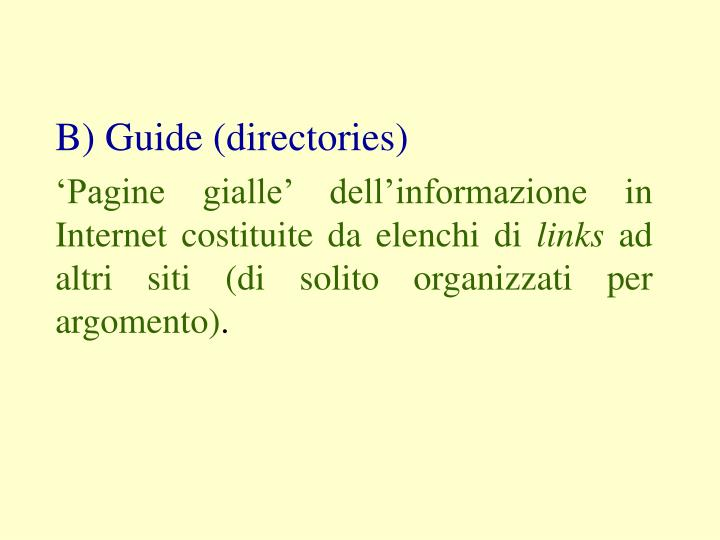 B) Guide (directories)