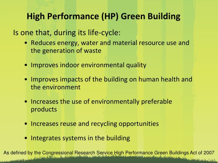 High Performance (HP) Green Building