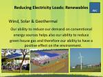 reducing electricity loads renewables