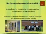 site elements educate on sustainability
