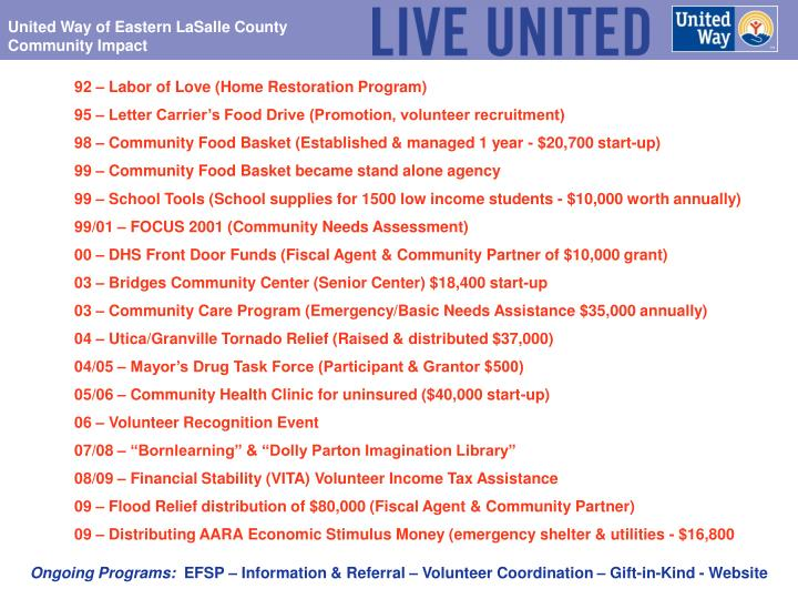 United Way of Eastern LaSalle County Community Impact