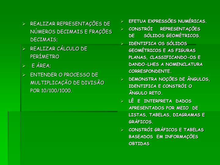 REALIZAR REPRESENTAÇÕES DE NÚMEROS DECIMAIS E FRAÇÕES DECIMAIS;