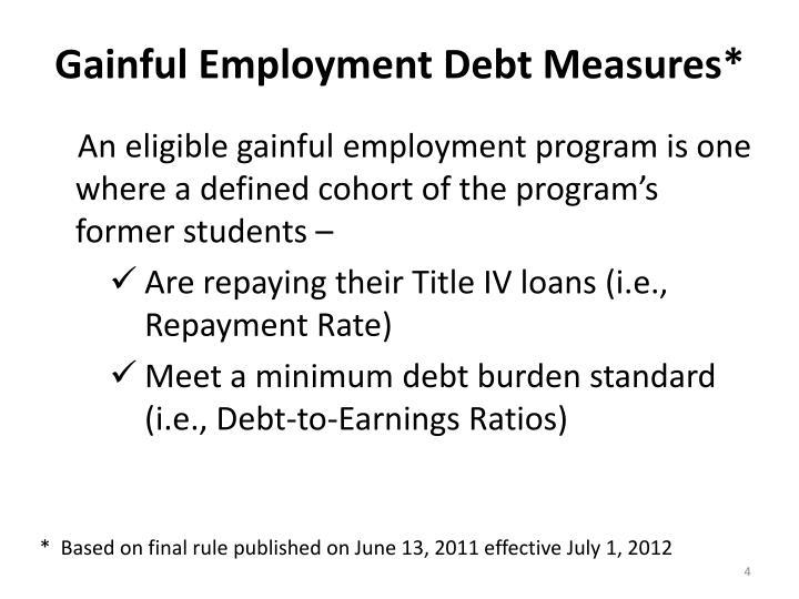 Gainful Employment Debt Measures*