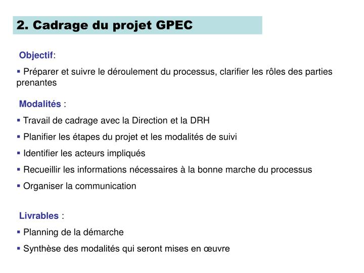 2. Cadrage du projet GPEC