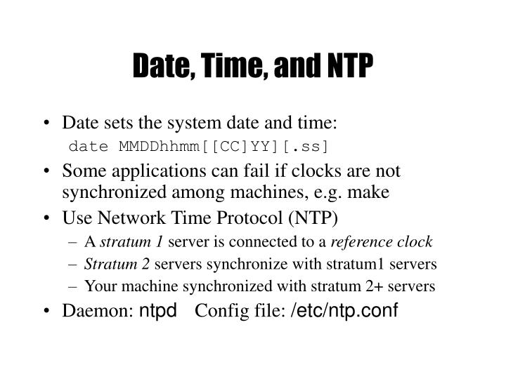 Date, Time, and NTP