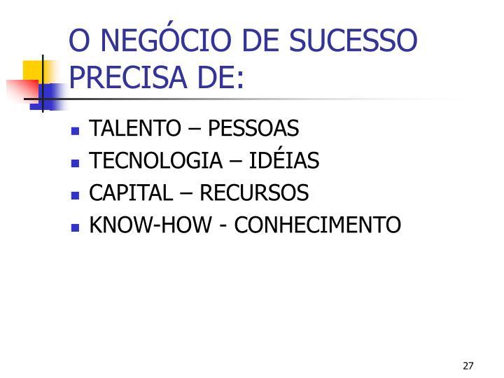 O NEGÓCIO DE SUCESSO PRECISA DE: