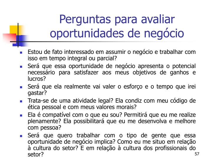 Perguntas para avaliar oportunidades de negócio