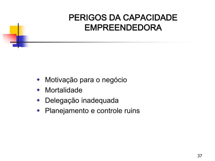 PERIGOS DA CAPACIDADE EMPREENDEDORA