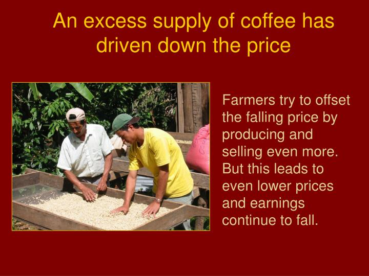 An excess supply of coffee has driven down the price