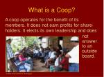 what is a coop1