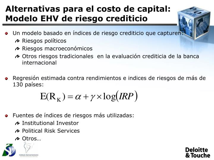 Alternativas para el costo de capital: