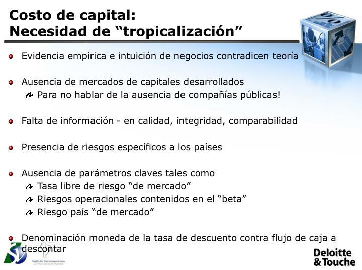 Costo de capital: