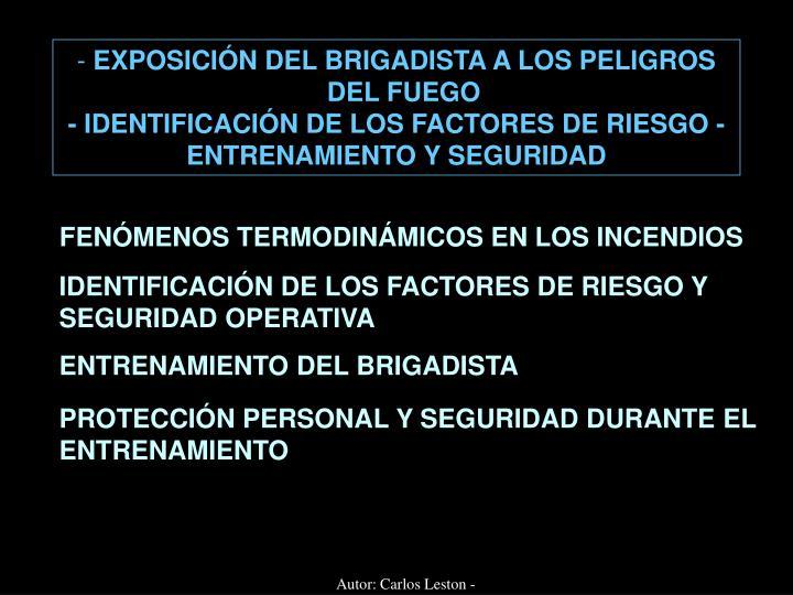 EXPOSICIÓN DEL BRIGADISTA A LOS PELIGROS