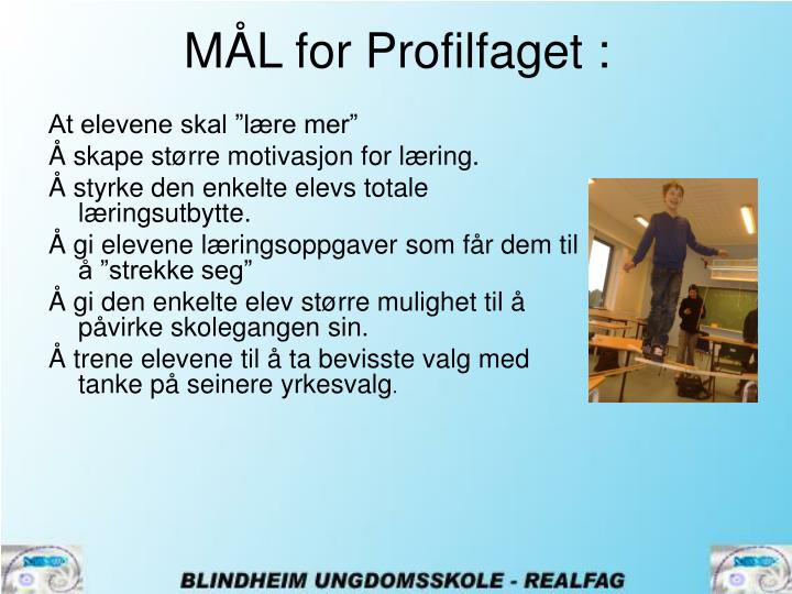 MÅL for Profilfaget :