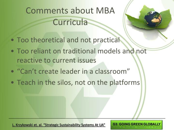 Comments about MBA Curricula