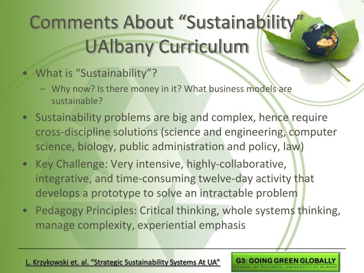 """Comments About """"Sustainability"""" UAlbany Curriculum"""