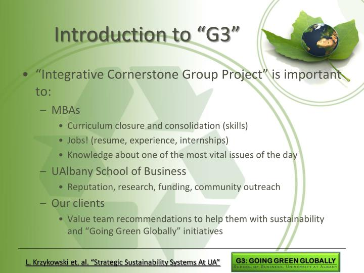 """Introduction to """"G3"""""""
