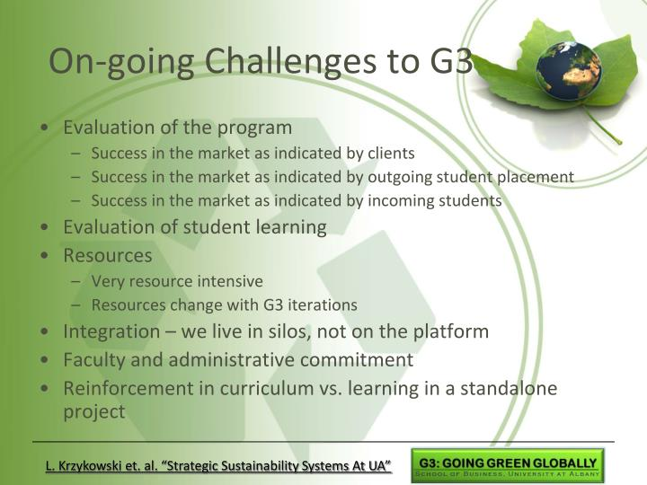 On-going Challenges to G3