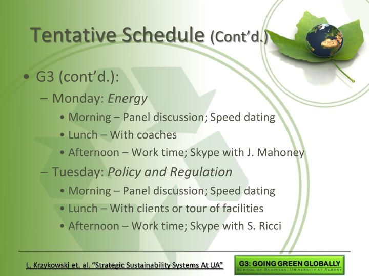 Tentative Schedule