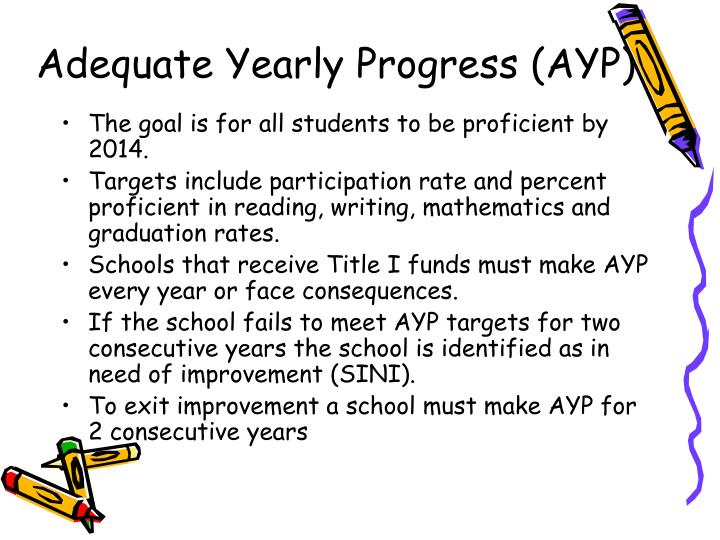The goal is for all students to be proficient by 2014.