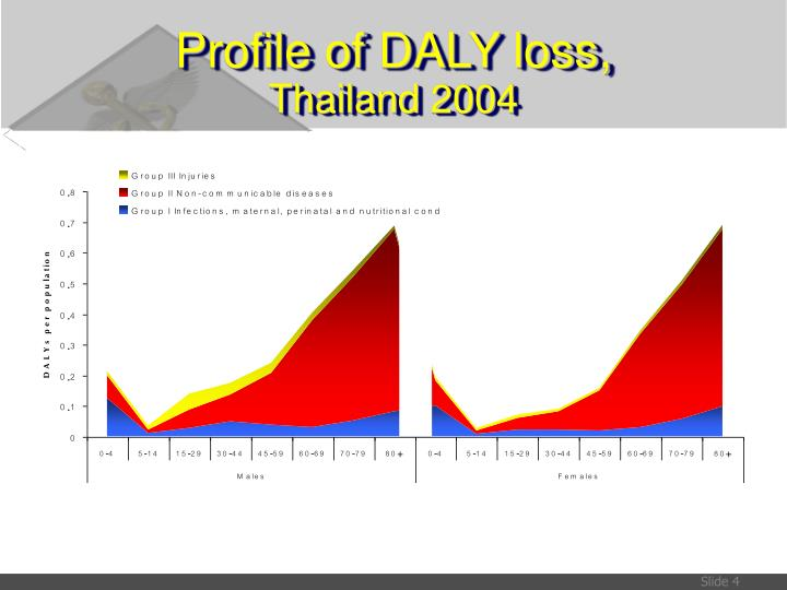 Profile of DALY loss,