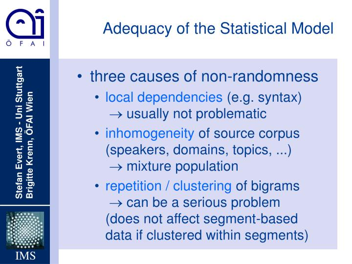 Adequacy of the Statistical Model