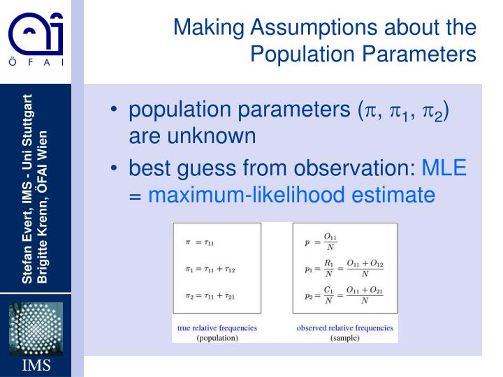 Making Assumptions about the Population Parameters