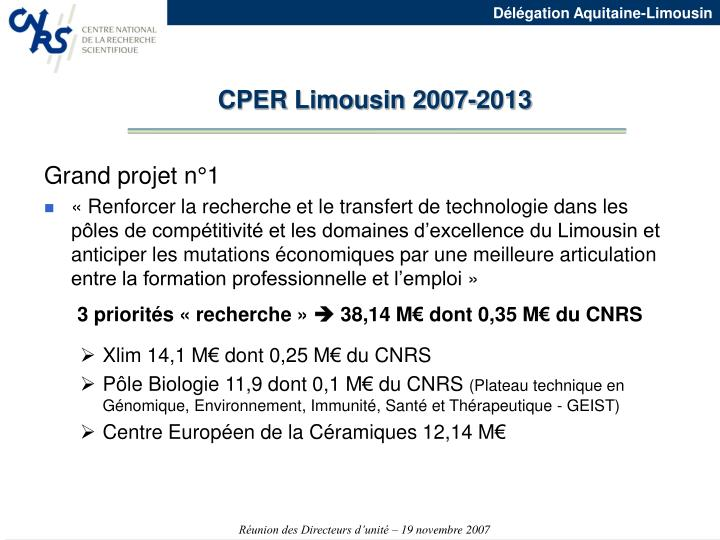 CPER Limousin 2007-2013