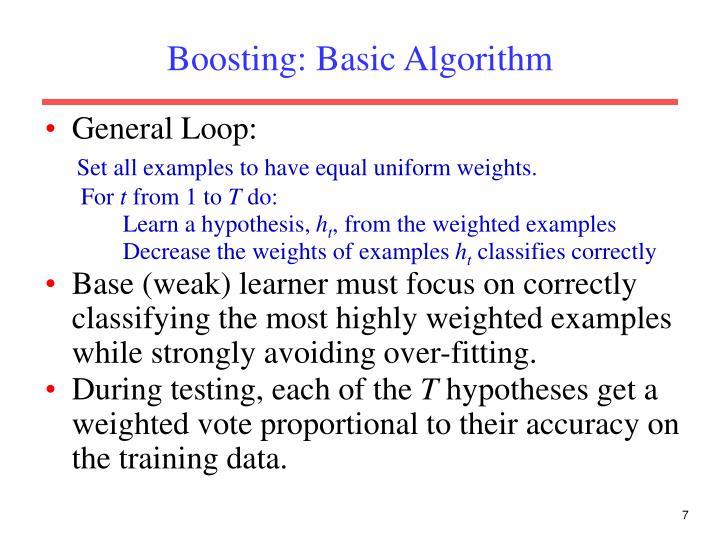 Boosting: Basic Algorithm