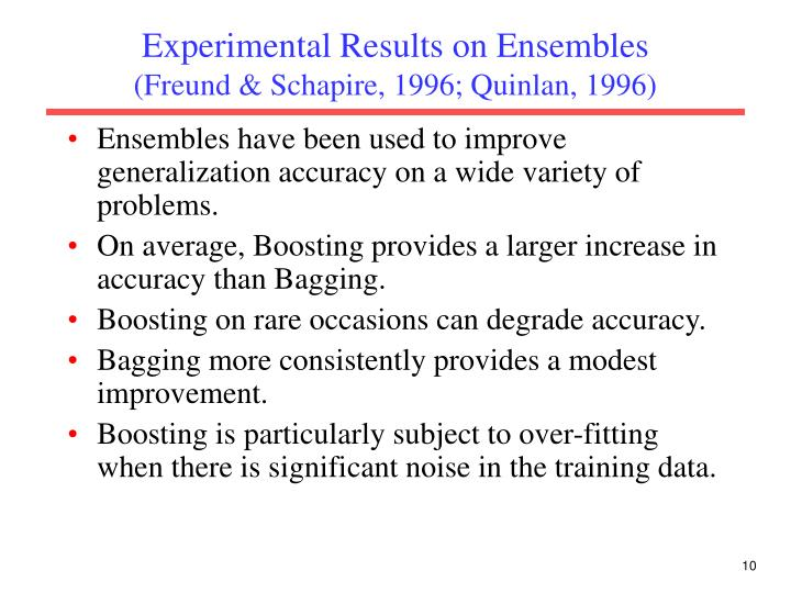 Experimental Results on Ensembles