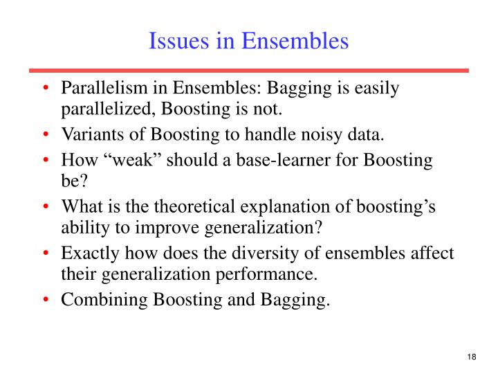 Issues in Ensembles