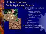 carbon sources carbohydrates starch