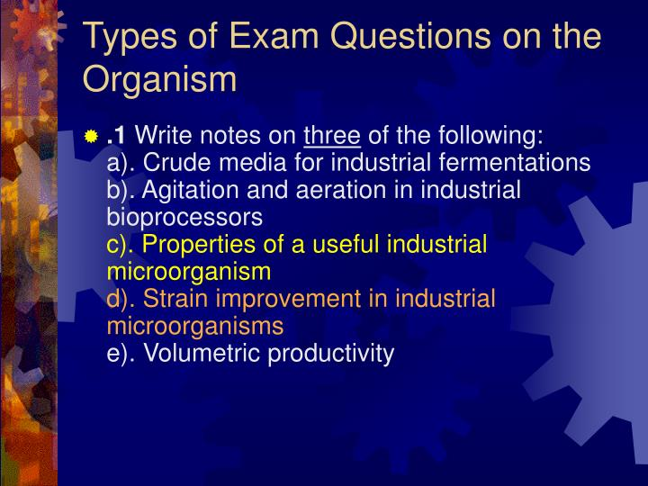 Types of Exam Questions on the Organism