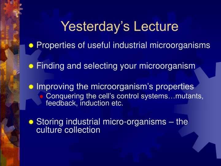 Yesterday's Lecture