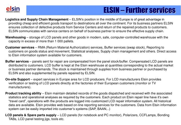 ELSIN – Further services