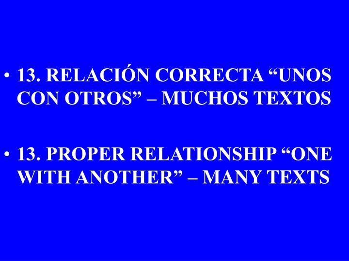 """13. RELACIÓN CORRECTA """"UNOS CON OTROS"""" – MUCHOS TEXTOS"""